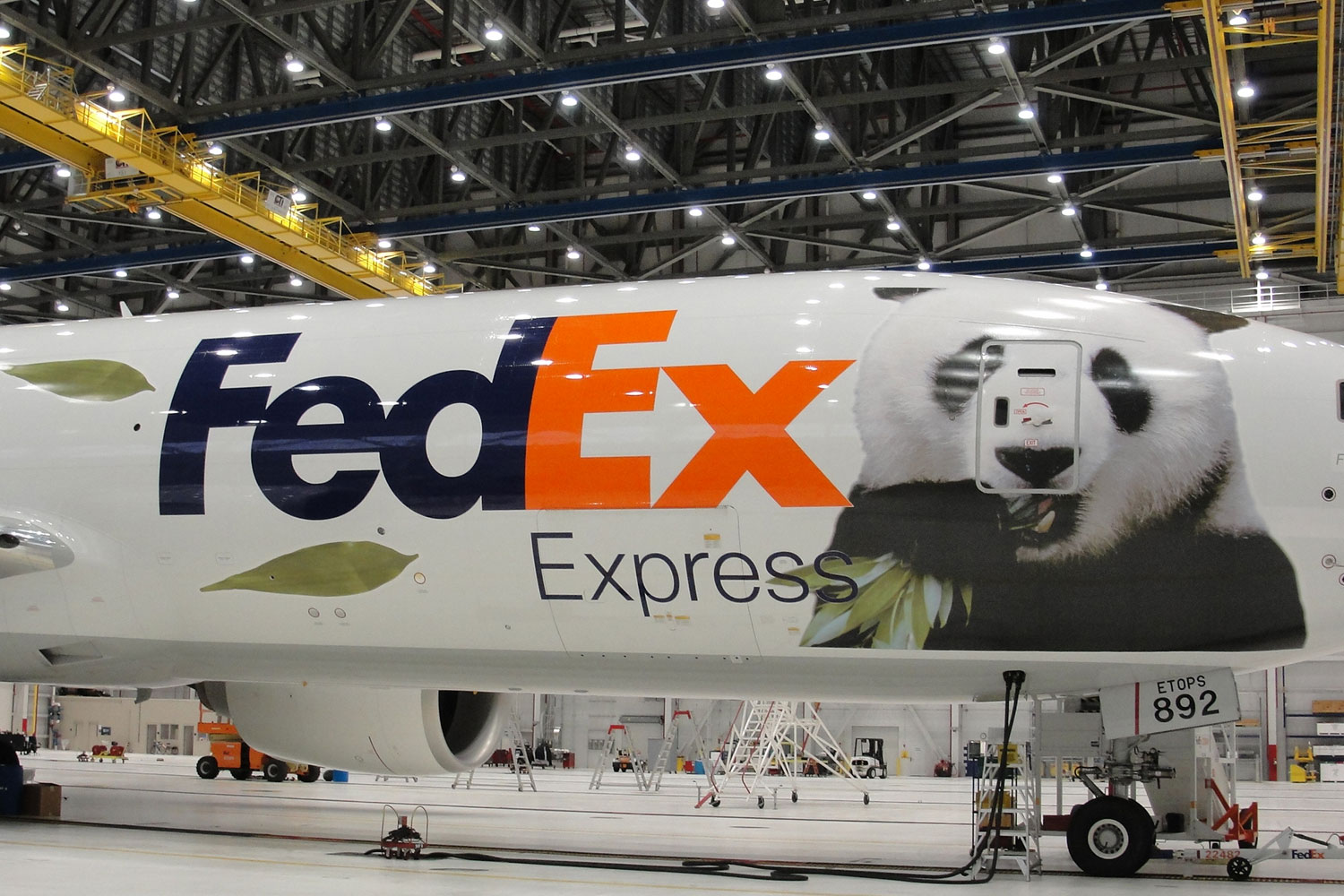 The specially marked Boeing 777 used to deliver two pandas from China to Toronto.