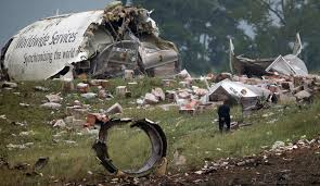 Scene from a UPS A300 that crashed in Birmingham, AL on Aug. 14, 2013.